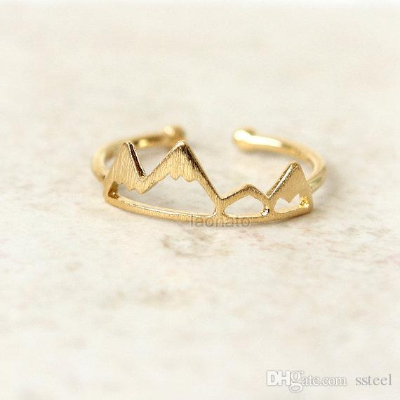 10pcs Gold/Silver Handmade Mountain Peak Ring Mountain Top Ring Mountain Valley Jewelry Gift For Friends