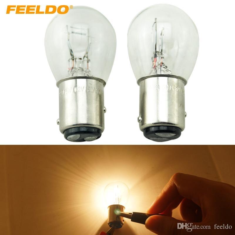 FEELDO 10pcs BAY15D 1157 P21 / 5W S25 12V 자동차 투명 유리 램프 브레이크 꼬리 전구 자동차 지시계 할로겐 램프 # 2721