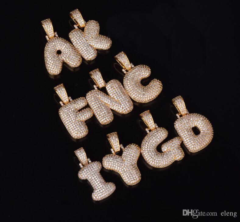 A-Z Custom Name Bubble Letters Necklaces & Pendant Charm For Men Women Silver Color Cubic Zircon Hip Hop Jewelry Gifts 534