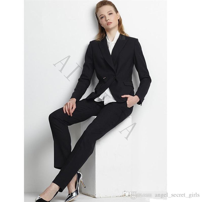 Ladies Elegant Pant Suits OL Formal Work Wear Long Sleeve Blazer With Trousers Black Female Office Uniform Business Suits