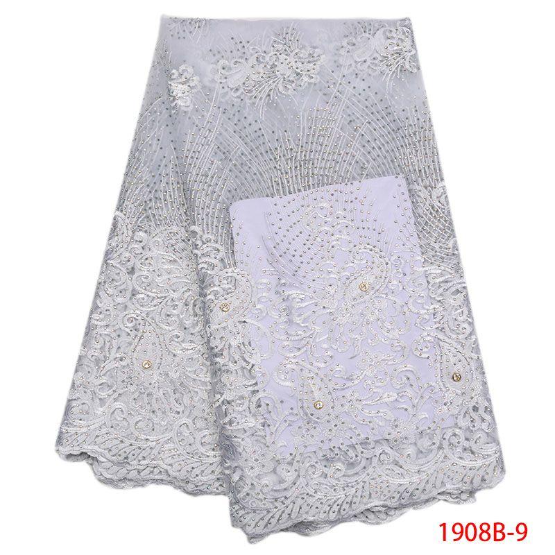 Tessuto di pizzo bianco per abito da sposa 2018 Nuovo tessuto di pizzo africano 5 yard Bellissimo pizzo di tulle francese con taglio di pietra AMY1908B-2