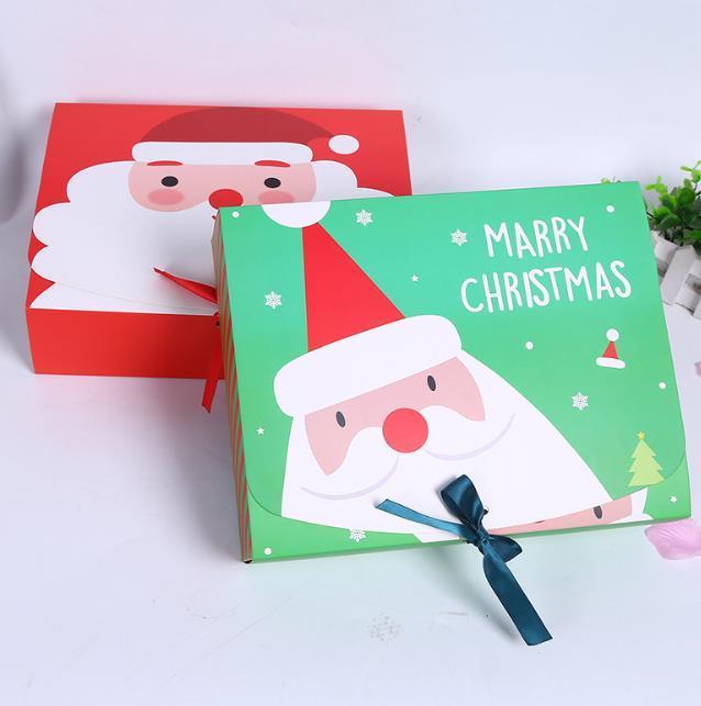 50 ADET Benzersiz Noel Arifesi Büyük Hediye Kutusu Santa Peri Tasarım Papercard Kraft Mevcut Parti Favor Etkinlik Kutusu kırmızı yeşil