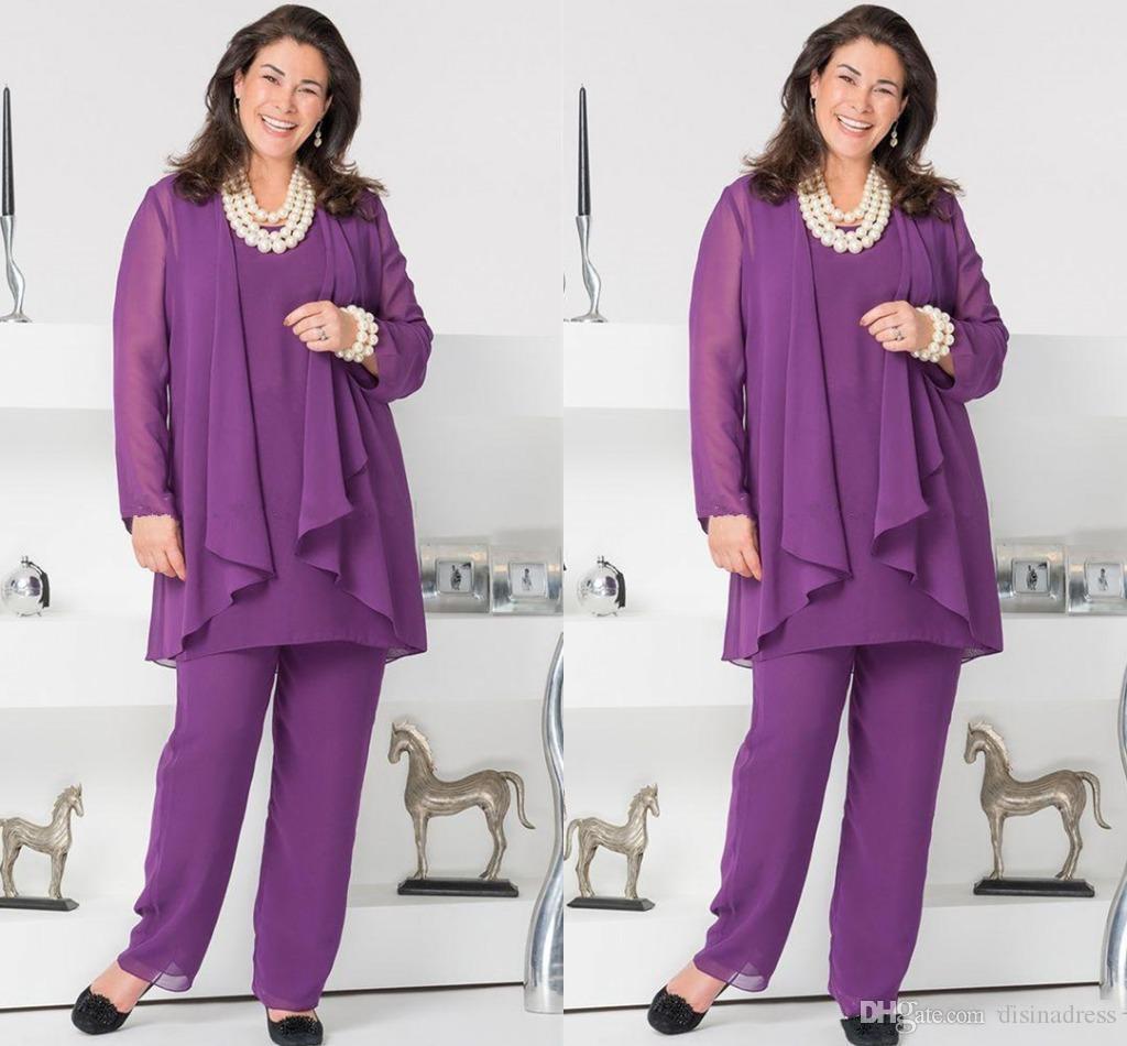 Compre Elegante Púrpura De La Gasa De La Madre De La Novia Trajes De ...