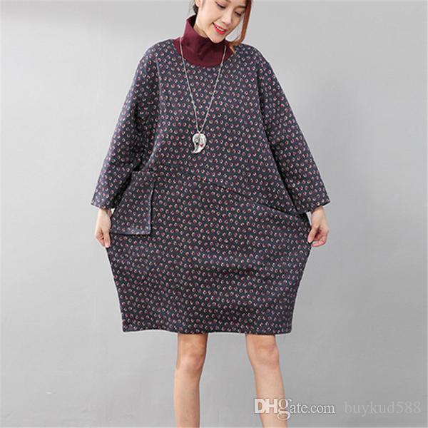 Camisa de impresión de estilo étnico de cuello alto otoño mujeres