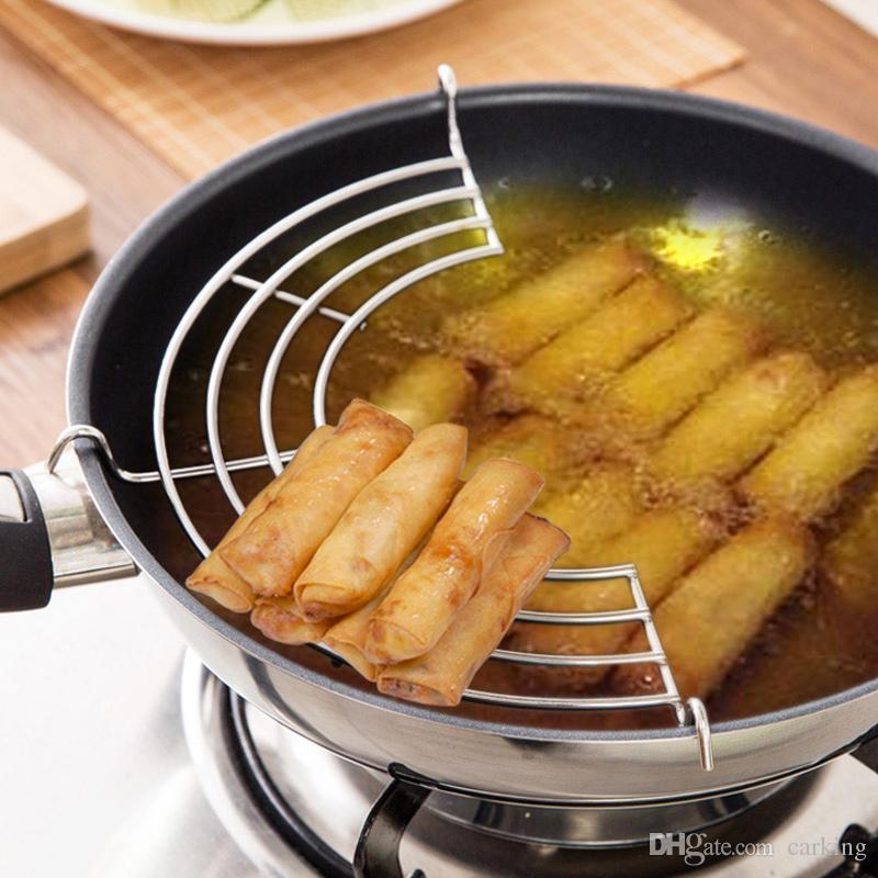 Semicircle Stainless Steel Leachate Rack Drain Rack Steamer Kitchen Steaming Vegetable Frying Oil Rack Steaming Tray