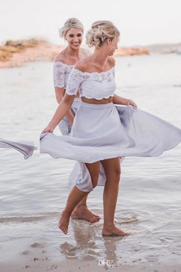 2019 Deux pièces en dentelle manches courtes plage robes de demoiselle d'honneur en mousseline de soie une ligne demoiselle d'honneur robe