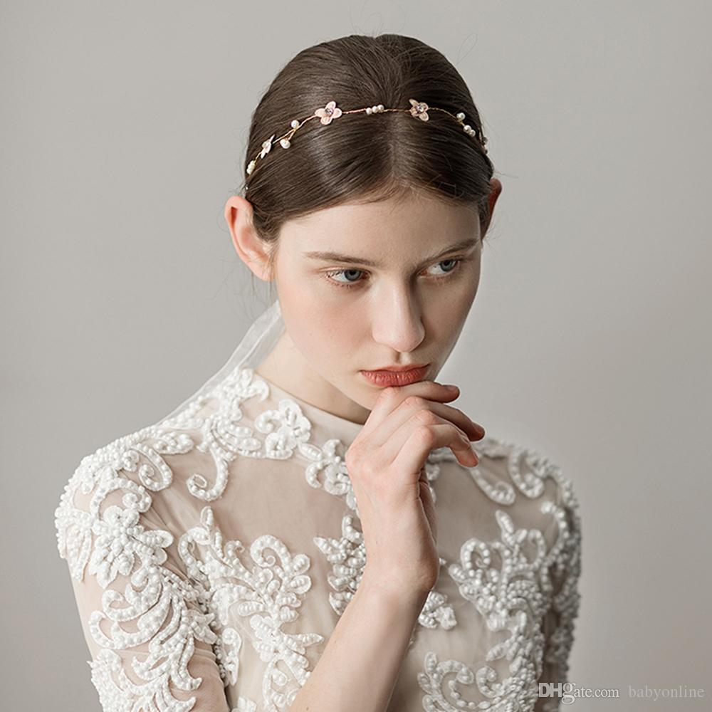 Moda Casamento Nupcial Headpiece Acessórios Para o Cabelo com Pérola Nupcial Coroas e Flores Tiaras Decoração Headband CPA1428