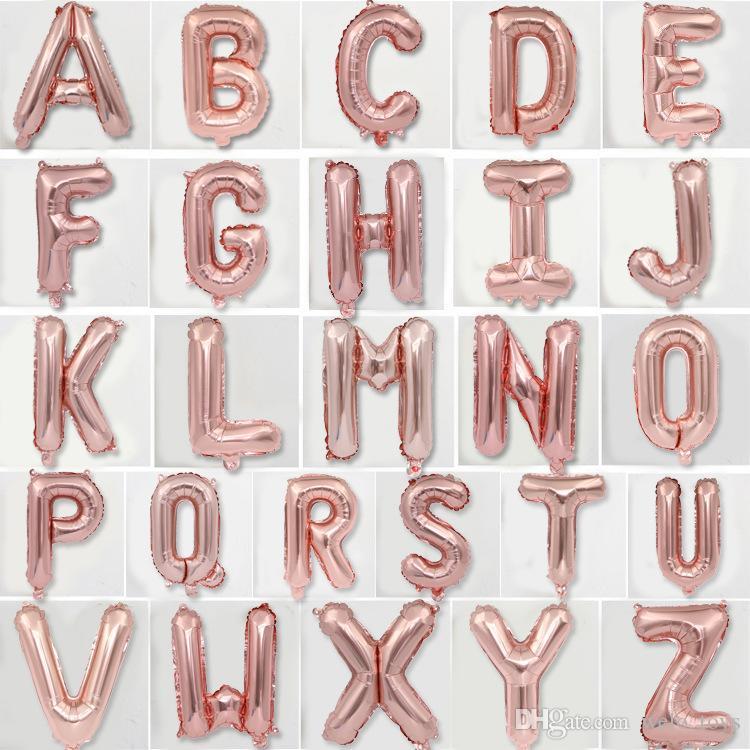 16 дюймов письмо шары розовое золото алфавит A-Z фольги воздушный шар DIY украшения воздушные шары игрушки событие праздничные атрибуты