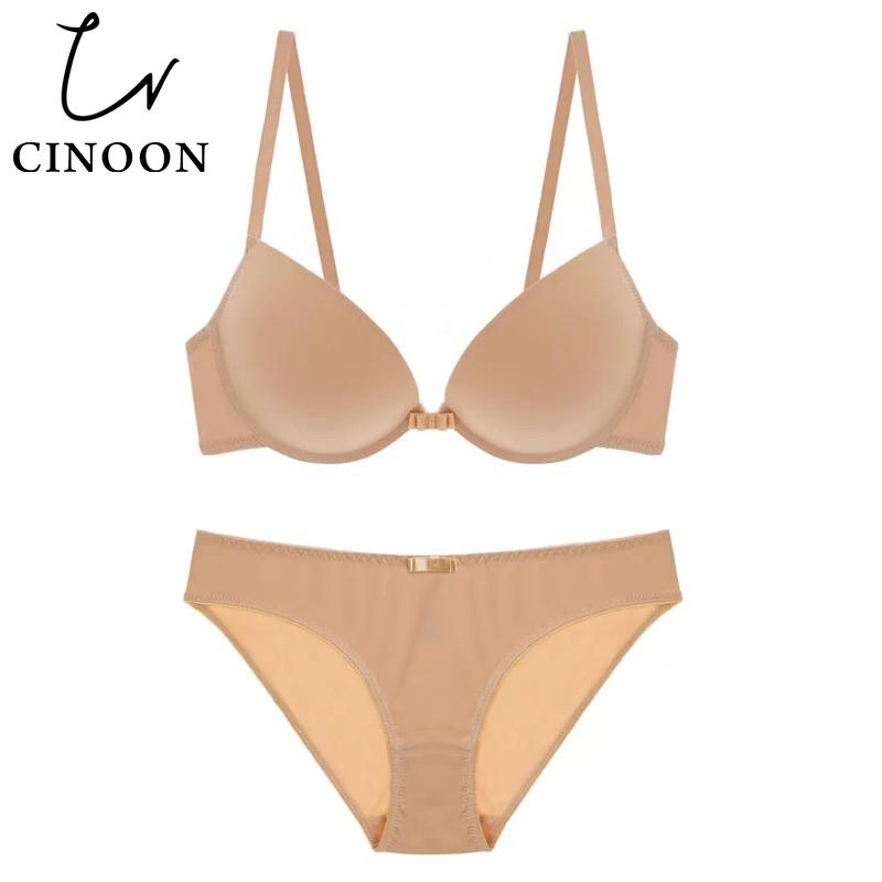 CINOON Sexy Underwear women's Lingerie Solid color bra set Smooth Bralette 3/4 cup push up brassiere Seamless bra and panty