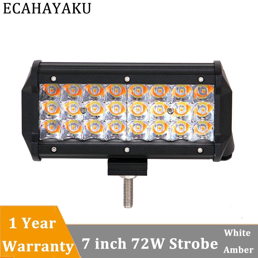 1PCS تري الصف 7INCH الألوان LED ضوء بار 72W المزدوج ستروب بقعة العمل أدى ضوء بار 12V شاحنة SUV ATV 4WD 4X4 ادى بار