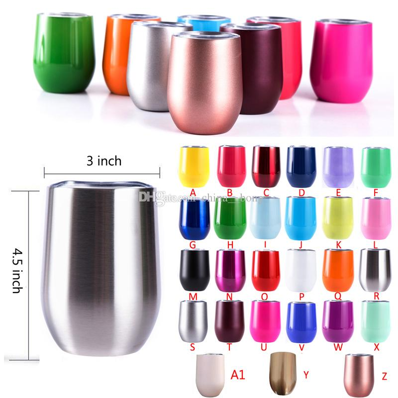 Stainless Steel Tumbler Rose Gold Insulated Wine Tumbler 12oz 6oz Coffee Mugs stemless Wine Glass For Wedding Christmas Gift