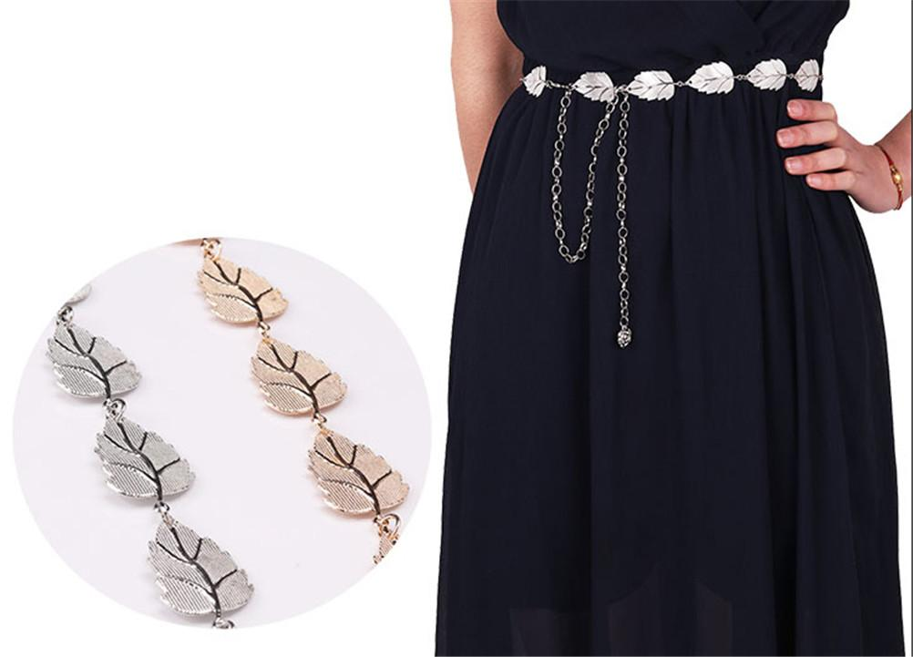 Women Metal Leaves Style Belt Chain Straps Waist Belt Fashion Body Chain Rope Gold Silver