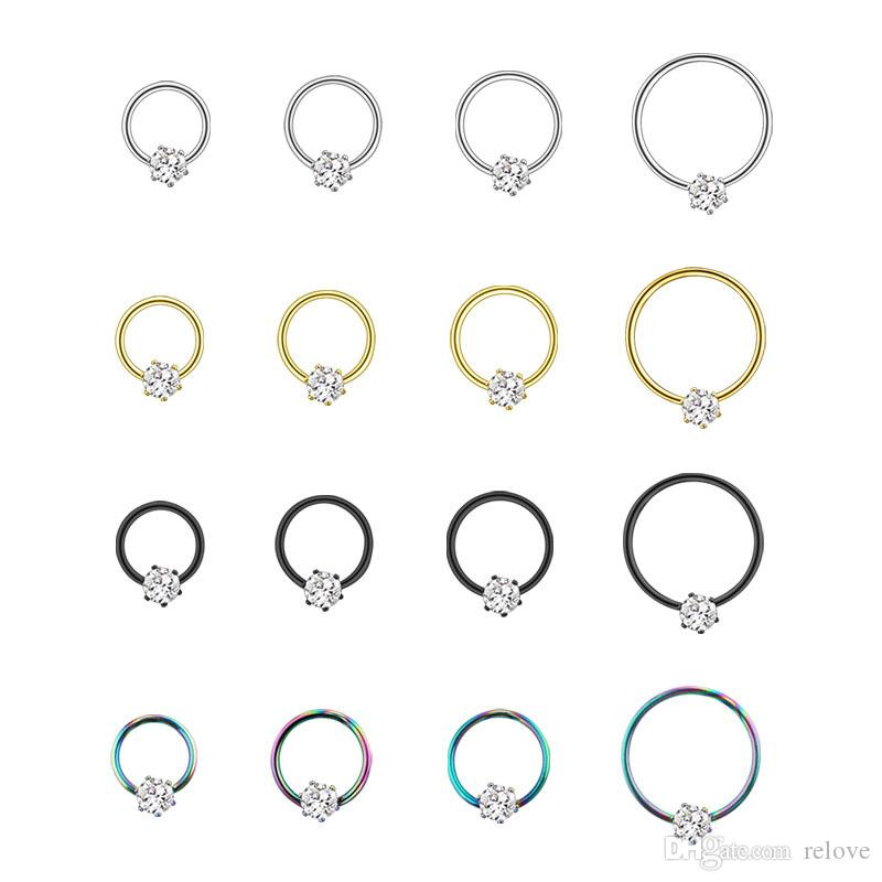 2020 New Wholesale Stainless Steel open Nose Hoop Ring with zircon Nose Studs Ear bone Nail Nice Body Pierce Jewelry free shipping