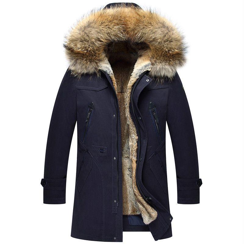 Mens Fur Jackets Winter Male Hooded Winter Coats Snow Outerwear Tops Windbreakers Big Size Overcoat Natural Fur 2018 Luxury