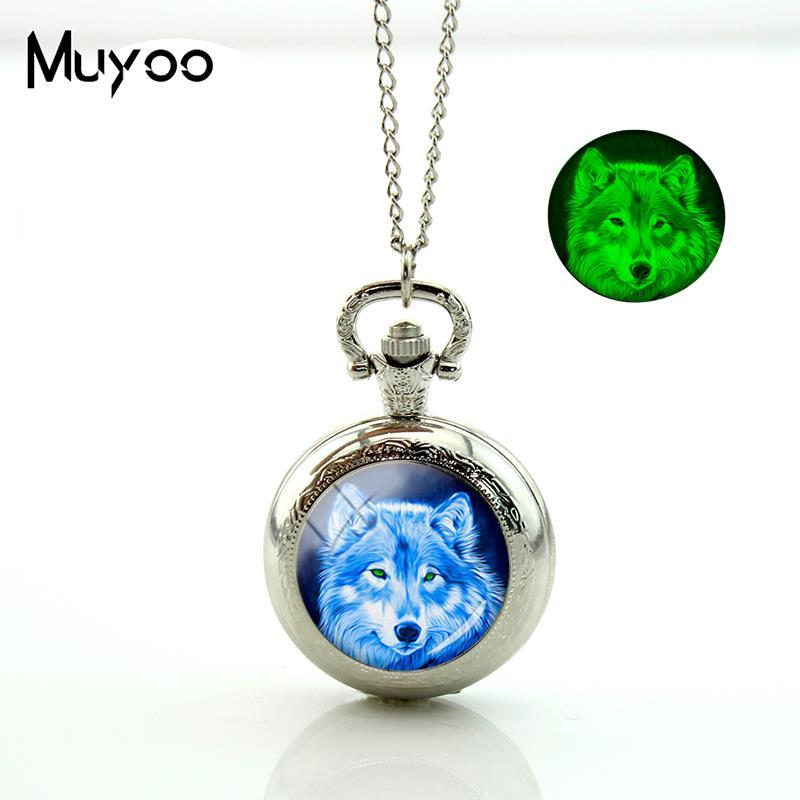 2018 New Wolf Pocket Watch Vintage Long Chain Glowing Pocket Watch Pendant Silver Handmade Jewelry Glass Dome Necklace