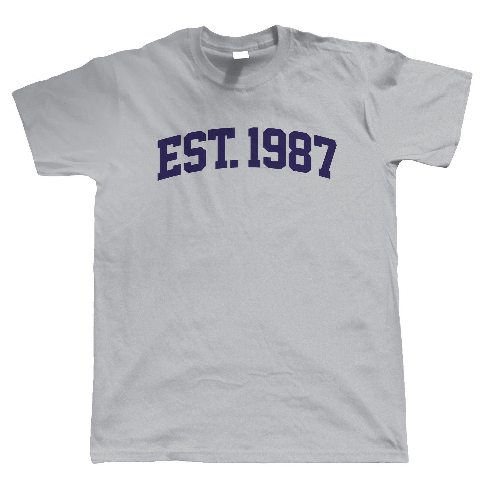 Established 1987 Mens T Shirt Gift 30th Birthday For Him Dad