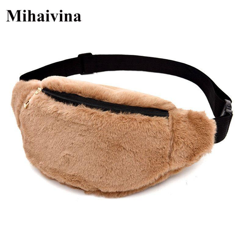 Mihaivina Velvet Women Fanny Pack Zipper Shoulder Chest Bag Lady Belly Belt Bag Leopard Waist Pack Crossbody Bags Pouch Handbags