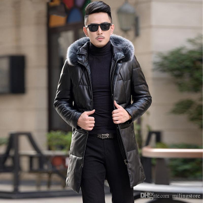 Yeni Kış Deri Ceket Erkekler Ördek Aşağı Uzun Ceket Erkek Tilki Kürk Yaka Koyun Coat Dış Giyim İkinci Katmanlı