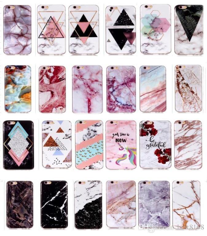 Caso de mármol del IMD TPU para Iphone 11 Pro Max XR XS MAX X 10 8 7 6 Cubierta 6S 5S SE 4 4S híbrido unicornio de la roca de piedra natural de lujo del teléfono