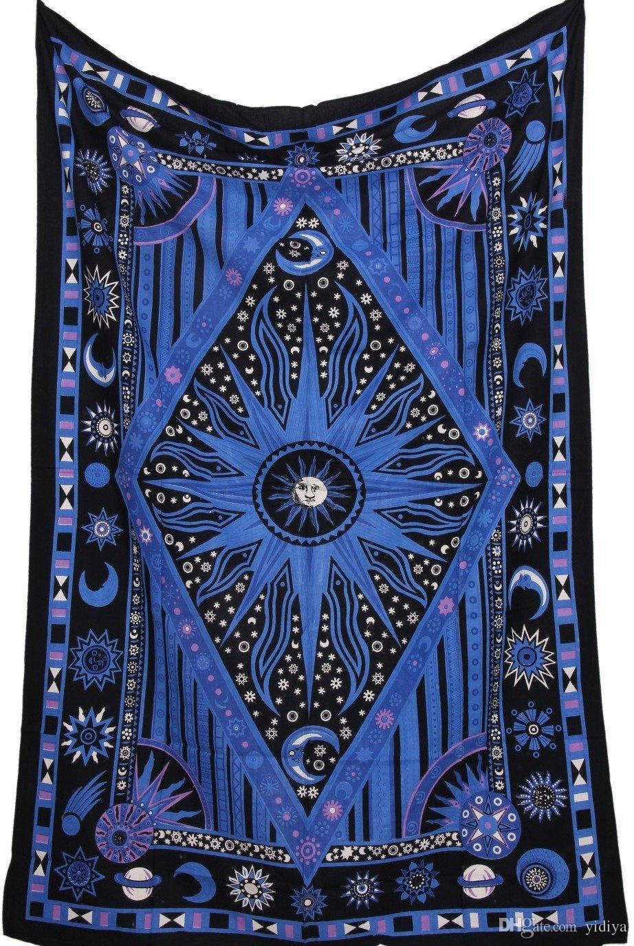 Azul sol y luna Mandala Tapiz Planeta Muro indio Tapiz Tapiz Plaza y Rombo Tapiz Mandalas Tapicería Tippie