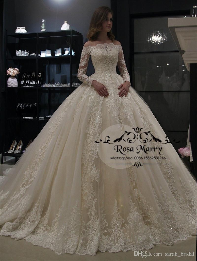 Prenses Vintage Dantel Balo Gelinlik 3018 Kapalı Omuz Uzun Kollu Payetli Boncuklu Artı Boyutu Müslüman Arap Düğün Gelinlikler