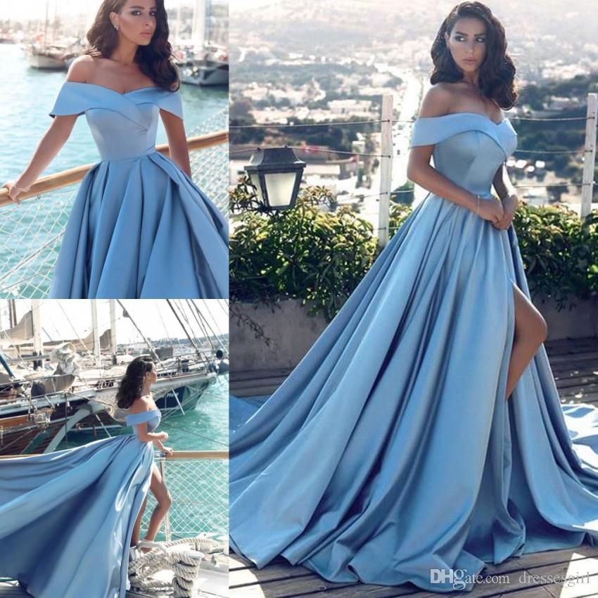 Современный арабский светло-синий вечерние платья африканских элегантный с плеч спереди Сплит популярные платья выпускного вечера BA6777