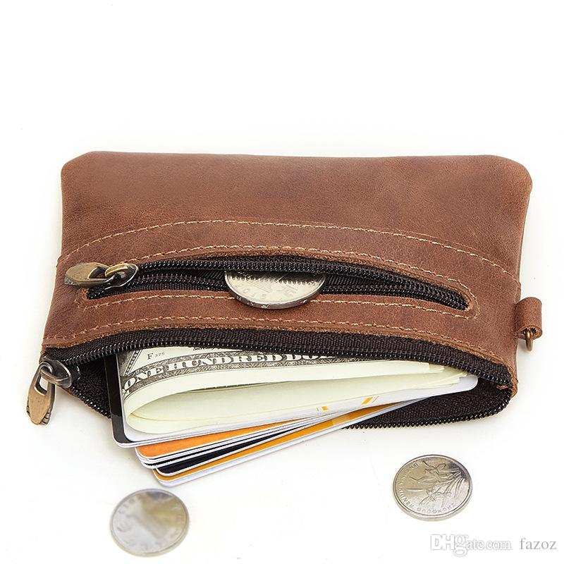 Vintage Genuine Leather Male Wallet Retro Casual Small Change Card Holder Coin Purse Zipper Pouch Wallet For Men