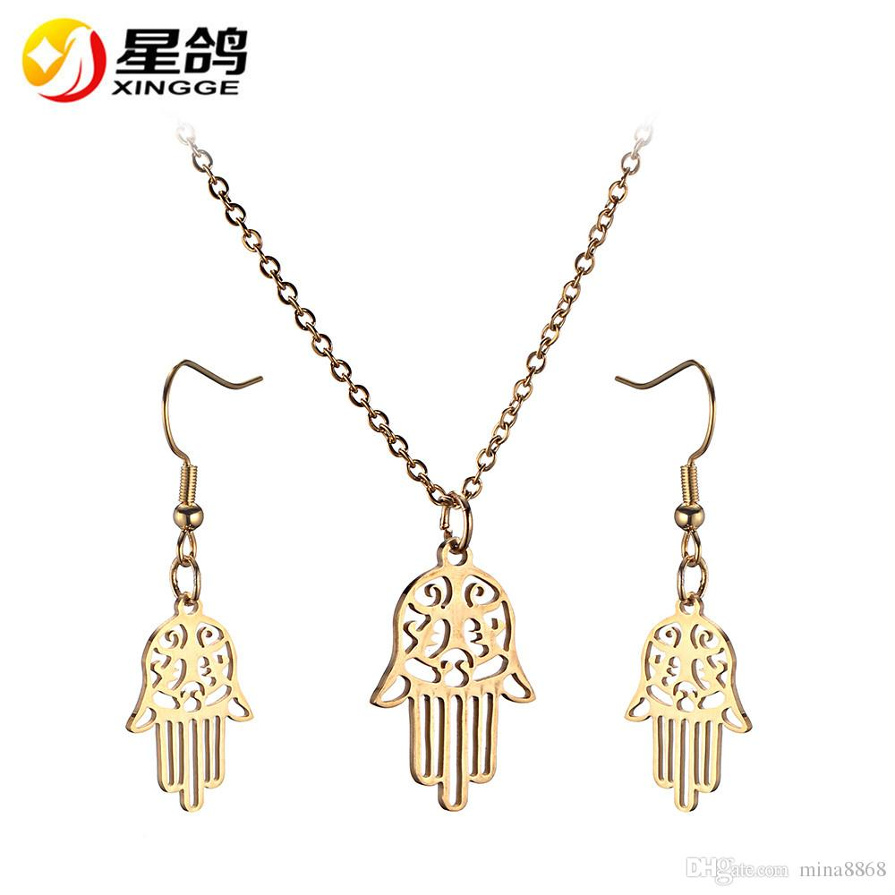 Silver/gold color Hamsa Hand Stainless Steel Jewelry Set for Women Fashion Luck jewelry Necklace Earrings Set