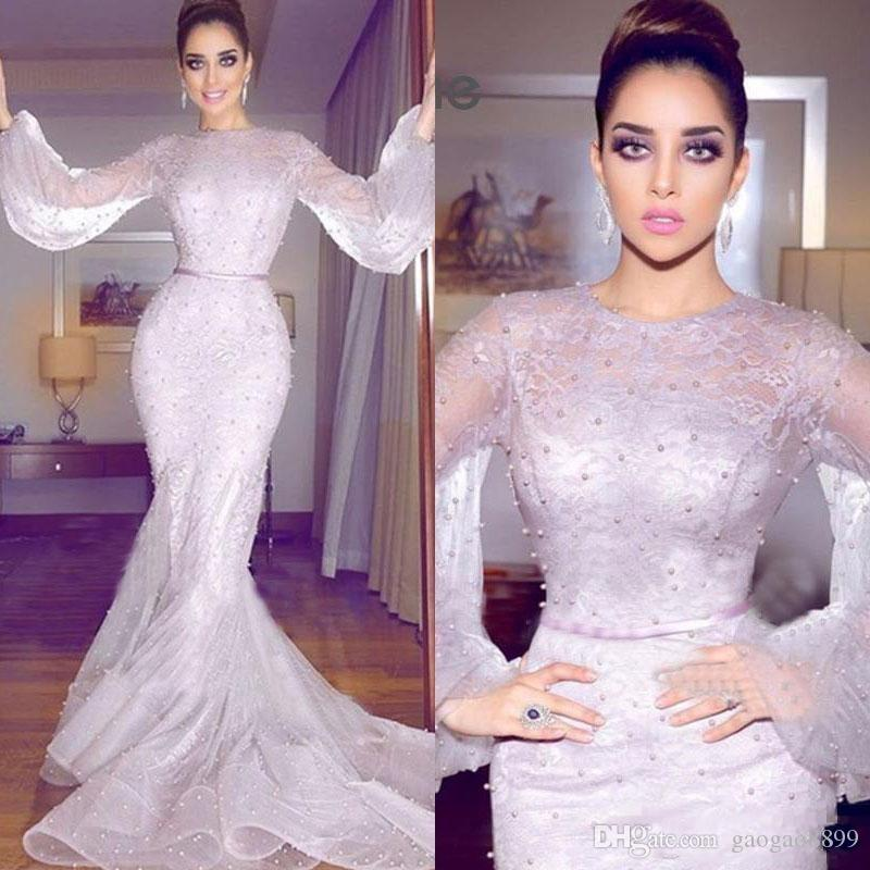 2019 Newest Arabic Mermaid Formal Dresses Evening Wear Long Sleeve Full Lace Pearls Prom Gowns Plus Size Prom Dresses Long