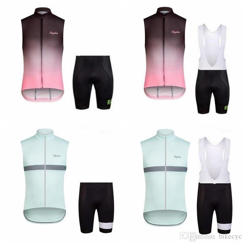 RAPHA equipo ciclismo camiseta sin mangas Chaleco (babero) pantalones cortos conjuntos de desgaste de la bicicleta Ropa MTB uniforme bicicleta Maillot Culotte E3112