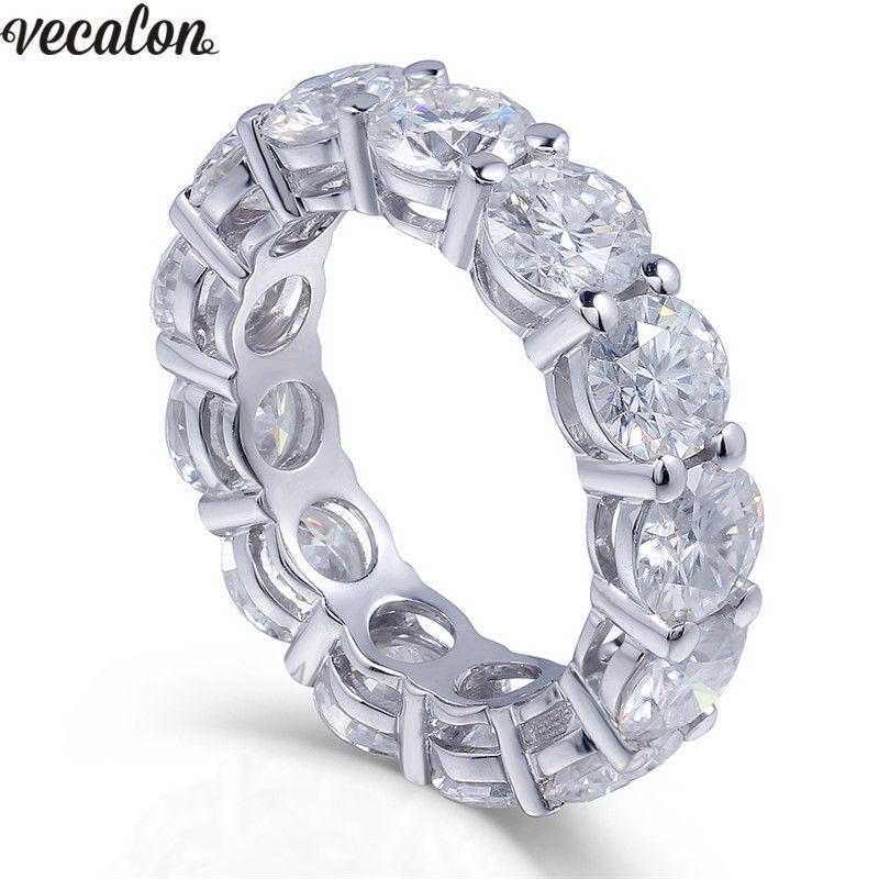 Vecalon 925 فضة الأبدية الدائري 6 ملليمتر 5a الزركون سونا تشيكوسلوفاكيا الاشتباك الزفاف الفرقة خواتم للنساء الاصبع الزفاف مجوهرات D18111405