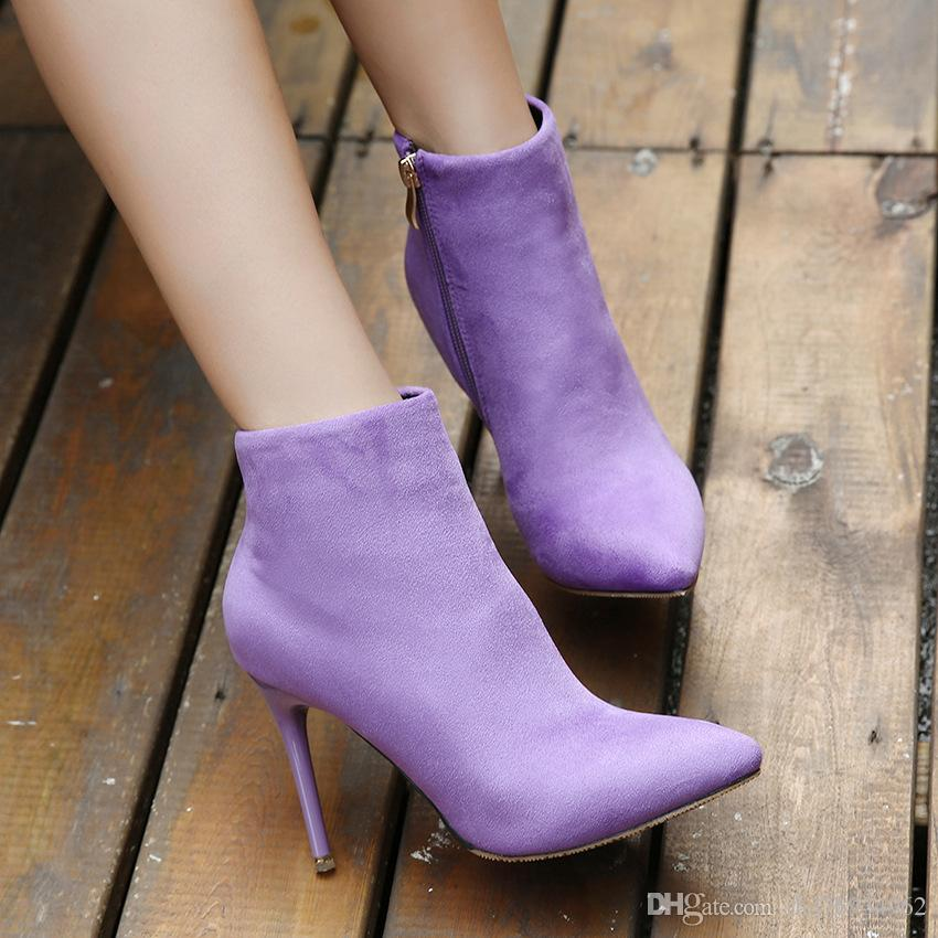 f037419434d Ladies Sexy Pointed Toe Pencil Heel Shoes Pure Color Fashion Zipper High  Heel Ankle Shoes Boots Canada 2019 From Rh376934962, CAD $17.04 | DHgate ...