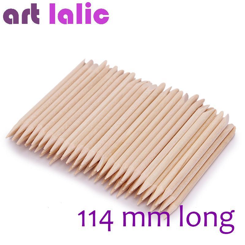 Artlalic 100 Pcs Nouvelle Arrivée 114mm Long Nail Art Design Orange Bâton En Bois Cuticules Pusher Remover Soins Manucure Nail Outils