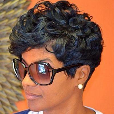 Natural wave brazilian virgin hair lace front wigs with bangs short bob wavy human hair full None lace human hair wigs for black women