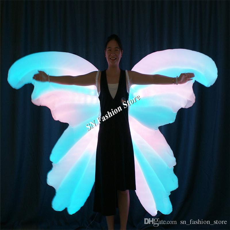 TC-185 Programmable Inflatable full color led costumes ballroom dance butterfly wings women dress light luminous colorful wear catwalk model