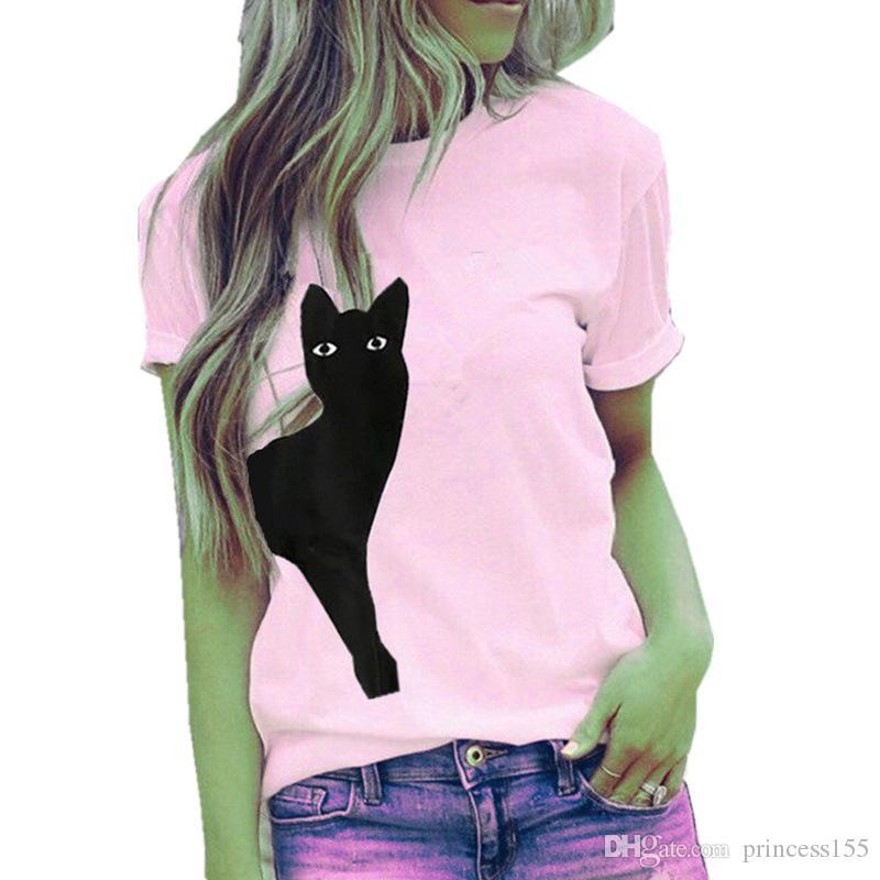 Europäische und amerikanische heiße Art-Katzen-Druck-Kurzarm-T-Shirt Bluse weibliches freies DHL