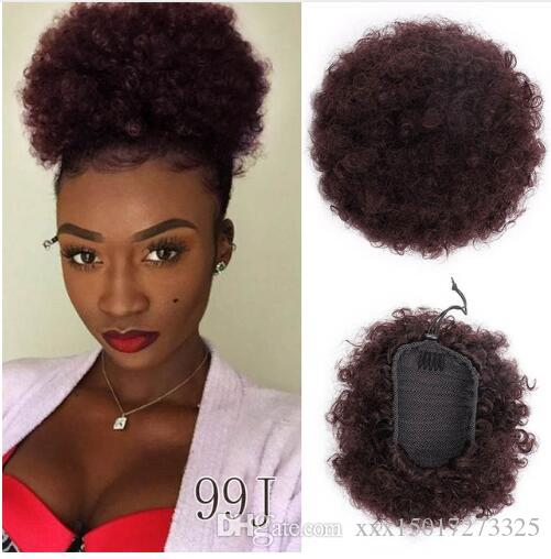 Doris beauty Synthetic Puff Afro Short Kinky Curly Chignon Hair Bun Drawstring Ponytail Wrap Hairpiece Fake Hair Extensions