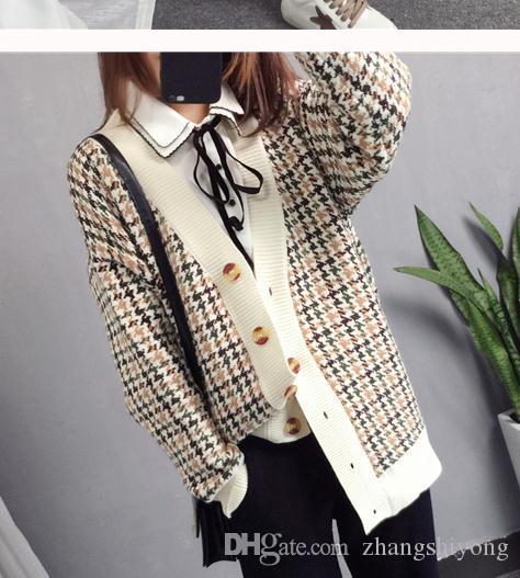 Envío gratis 2018 Nuevo estilo coreano engrosamiento suéter cardigan arder tejer capa
