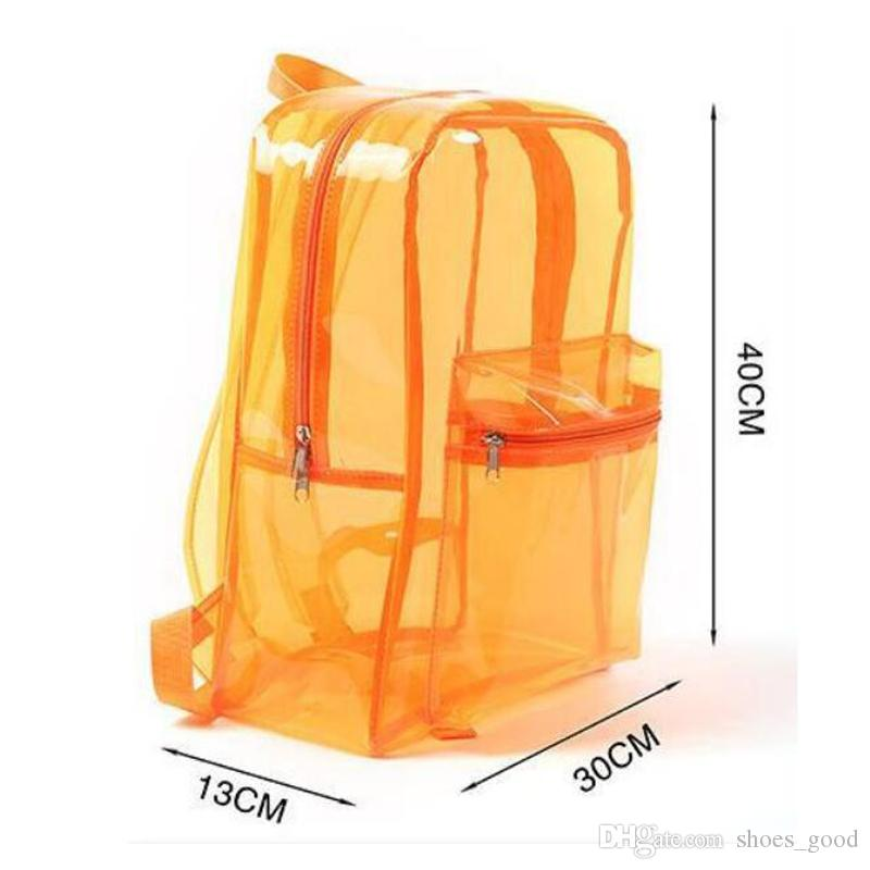 PVC Transparent Backpack Summer Beach Waterproof Clear Backpack Fashion Style Women Girls Travel Portable Jelly Color Shoulder good