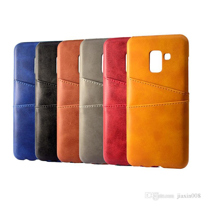 Samsung galaxy a8 için pu deri coque 2018 case lüks arka kapak kart tutucu cep telefonu kılıfları için samsung galaxy a8 artı 2018