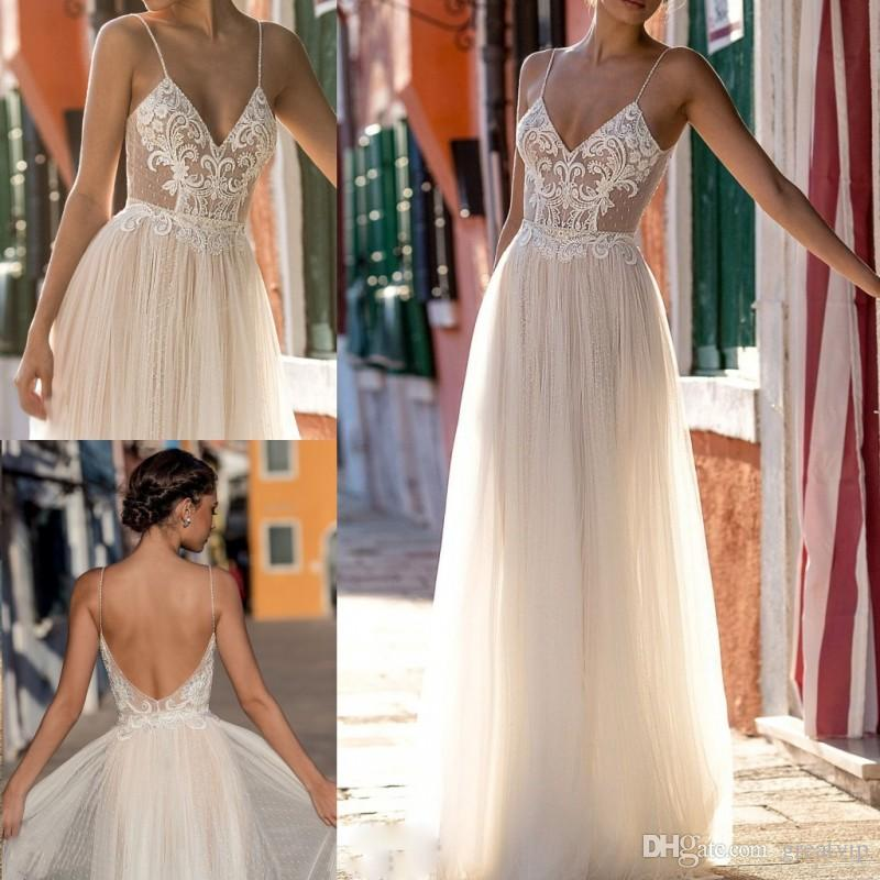 2019 Gali Karten Beach Abiti da sposa Una linea in rilievo Illusione Pizzo Tulle Applique Sweep Train Boho Abiti da sposa Spaghetti Plus Size Dress