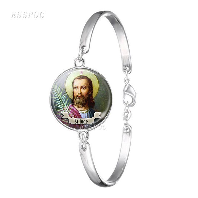 Großhandel St Michael Glas Cabochon Armband Armreif Silber Vergoldet ...