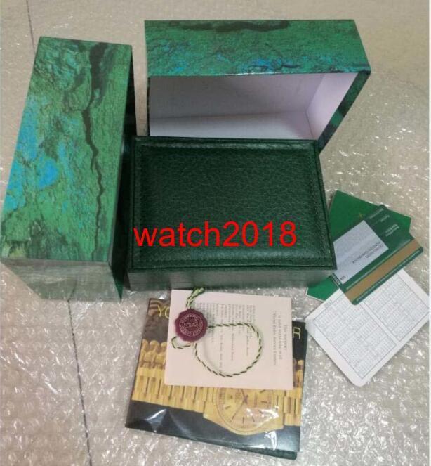 De calidad superior de lujo para hombre / para mujer verde reloj de madera caja de reloj cajas de madera papeles tarjeta de la carpeta cajas de reloj de pulsera