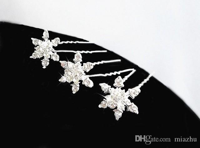 Gümüş Kaplama Kristal Kar Taneleri headdress Gelin Düğün saç tokaları saç kadınlar için Saç Klipler