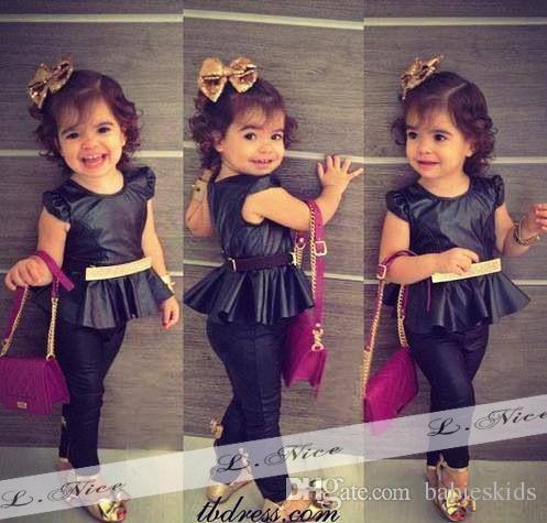 Недавно девочка комплект одежды платье новорожденных детей с коротким рукавом топ брюки 2 шт. футболки костюмы младенческой ползунки дети пиджаки