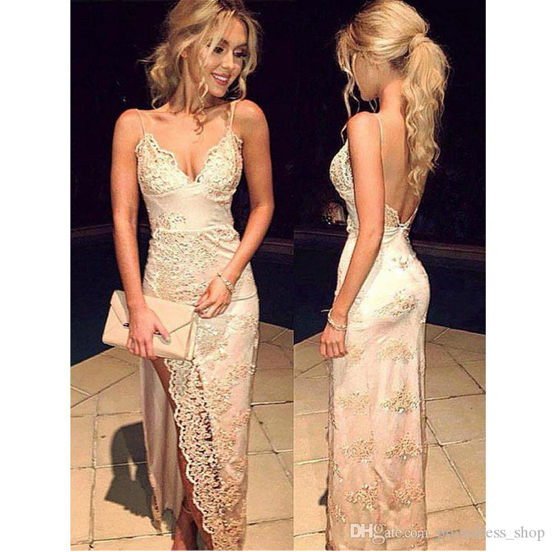 2019 New Spaghetti Straps Prom Dresses Mermaid Sexy Champagne Gold Applique Floor Length Formal Evening Gown Party Dresses Custom Made