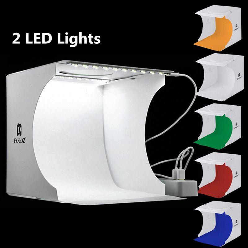 مصغرة الصور ستوديو صندوق 2 led لوحات التصوير خلفية صندوق الضوء مدمج ضوء صورة مربع الكاميرا المحمولة للطي التصوير استوديو