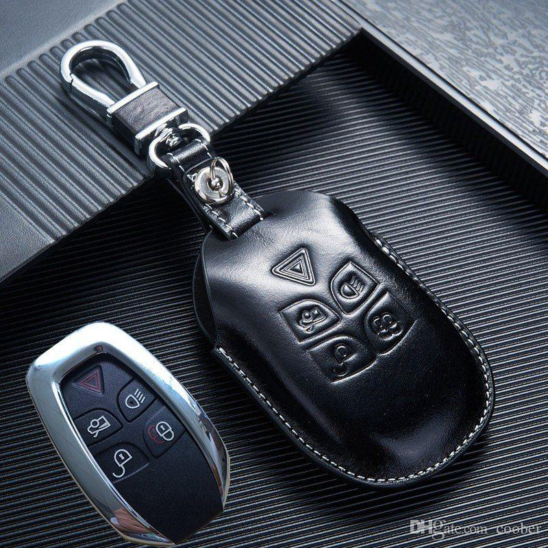 Leather Car Key Fob Cover For Jaguar XJ 2009 2010 2011 2012 XJL Key Case  Holder Keyless Entry Accessoriess Key Replacement For Car Key Replacement