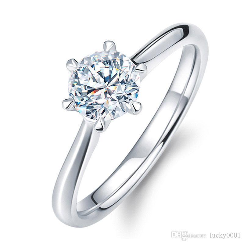 Clássico Seis Garra 6mm Anéis De Casamento De Zircão para as mulheres Jóias cor prata Anéis de Noivado feminino Anel Bijoux Presente