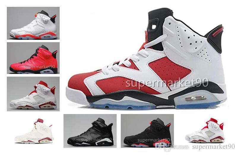 Scarpe da pallacanestro degli uomini delle donne di alta qualità 6 6s carminio infrarosso Alto taglio basso Chrome Sport blu casual scarpe da passeggio Sneakers con scarpe Box